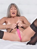 Horny mature lady playing with her toy - Granny Girdles